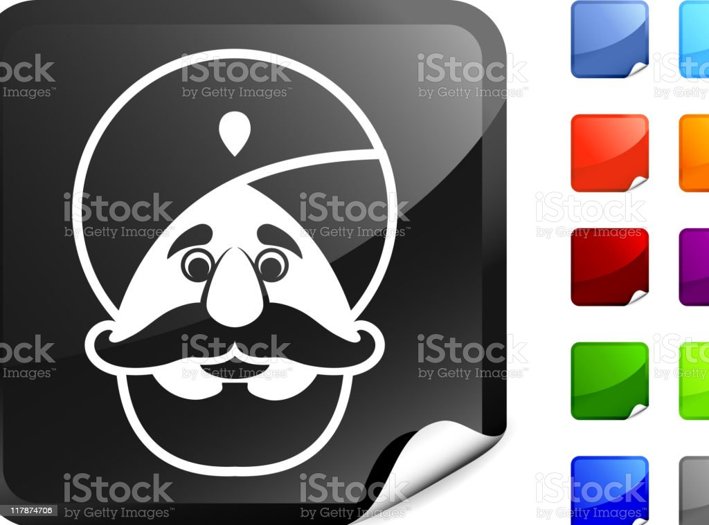 Muslim man icon on sticker vector art illustration