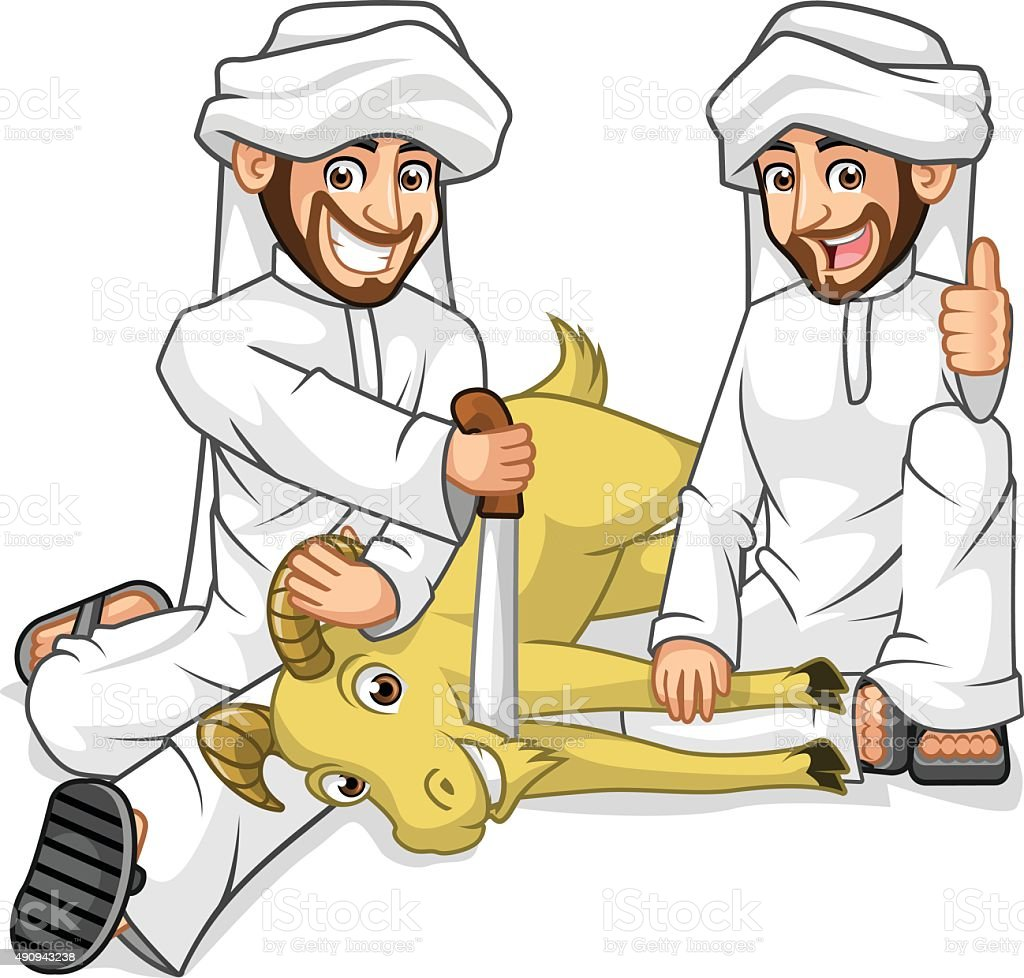 Muslim Mens Cartoon Character Sacrifice Goat vector art illustration