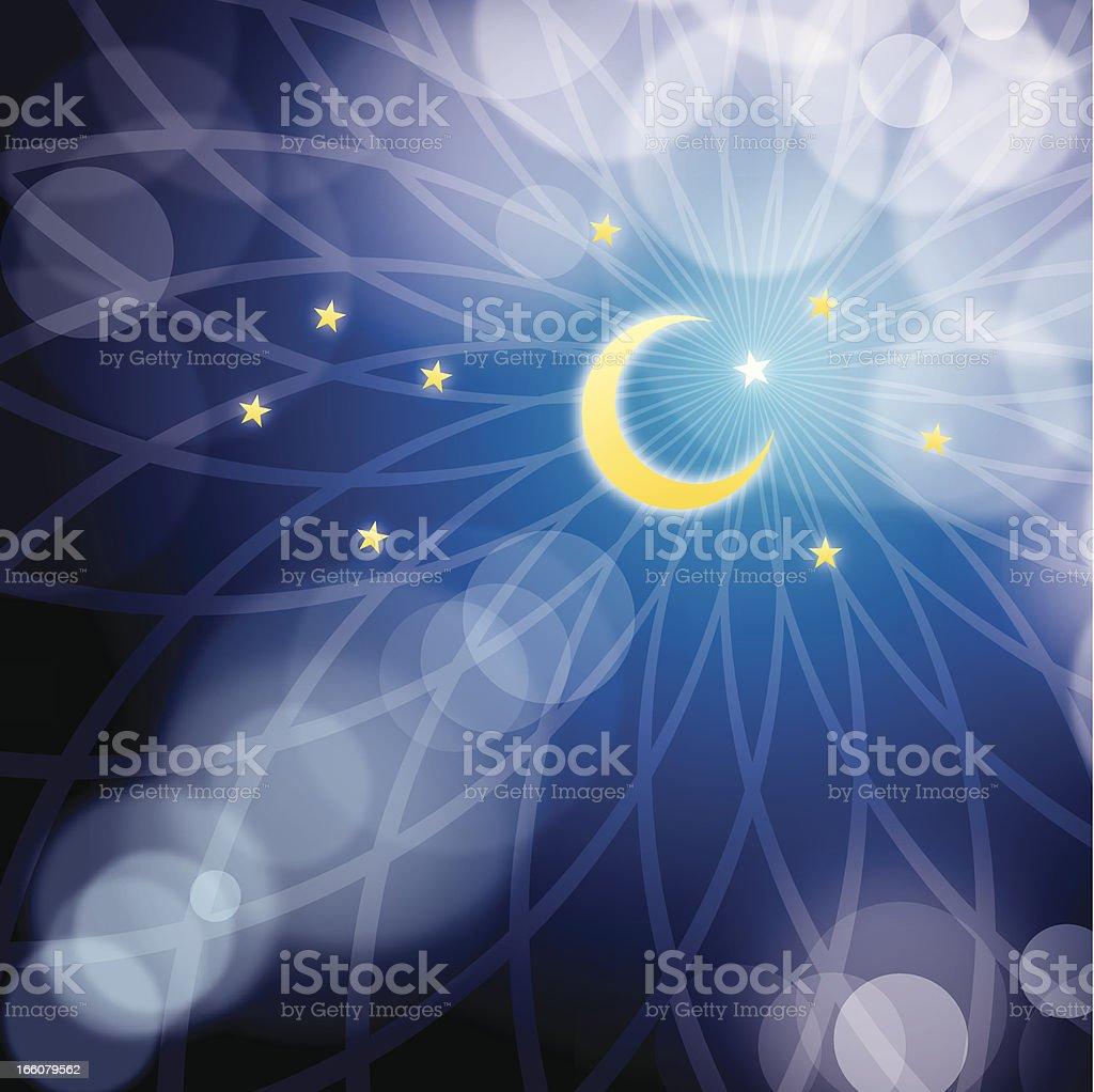 Muslim star and moon vector art illustration