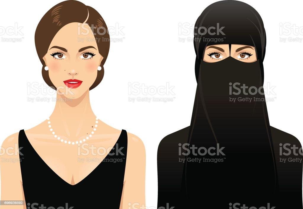 Muslim woman vector art illustration