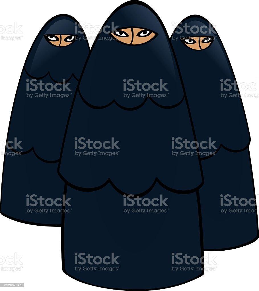 Muslim women vector art illustration