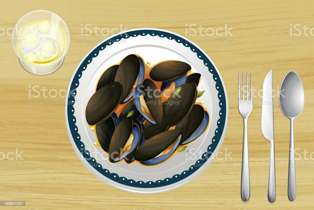 Mussel on a plate vector art illustration