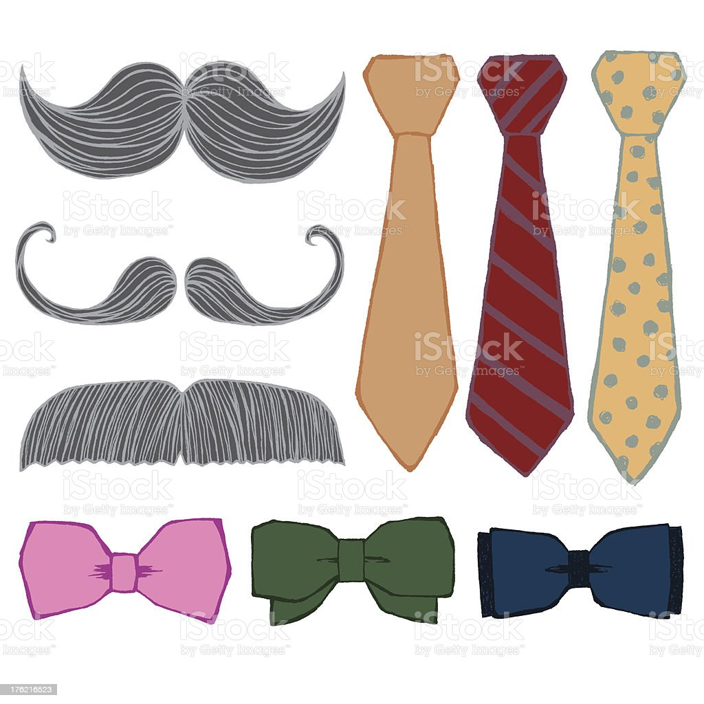 Mustache and Bow Tie Set royalty-free stock vector art