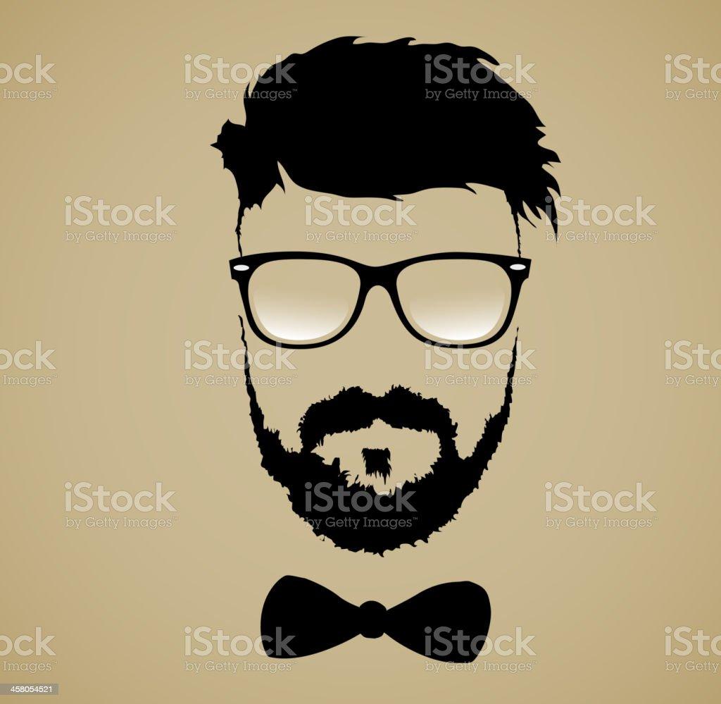 mustache beard glasses hairstyle vector art illustration