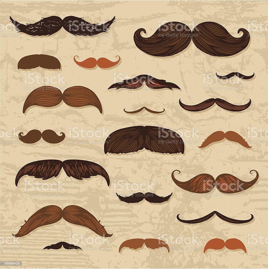 Mustache hand-drawn set vector art illustration