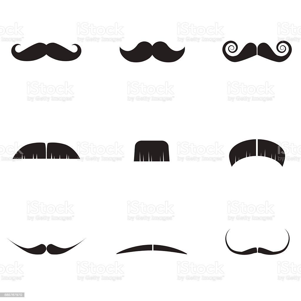 Mustache icon set isolated on white background. vector art illustration