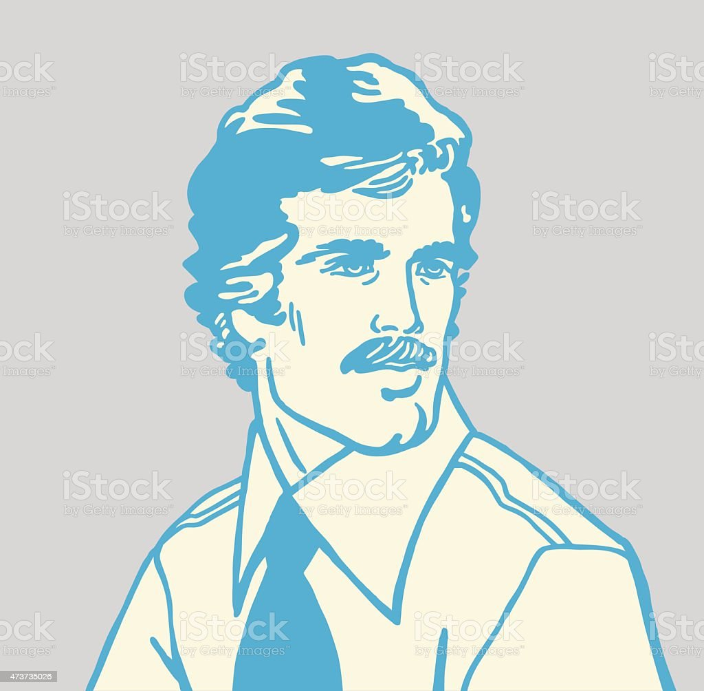 Mustache Man Looking to the Side vector art illustration