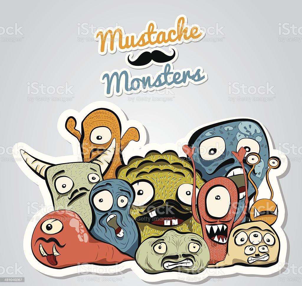 Mustache Monsters royalty-free stock vector art
