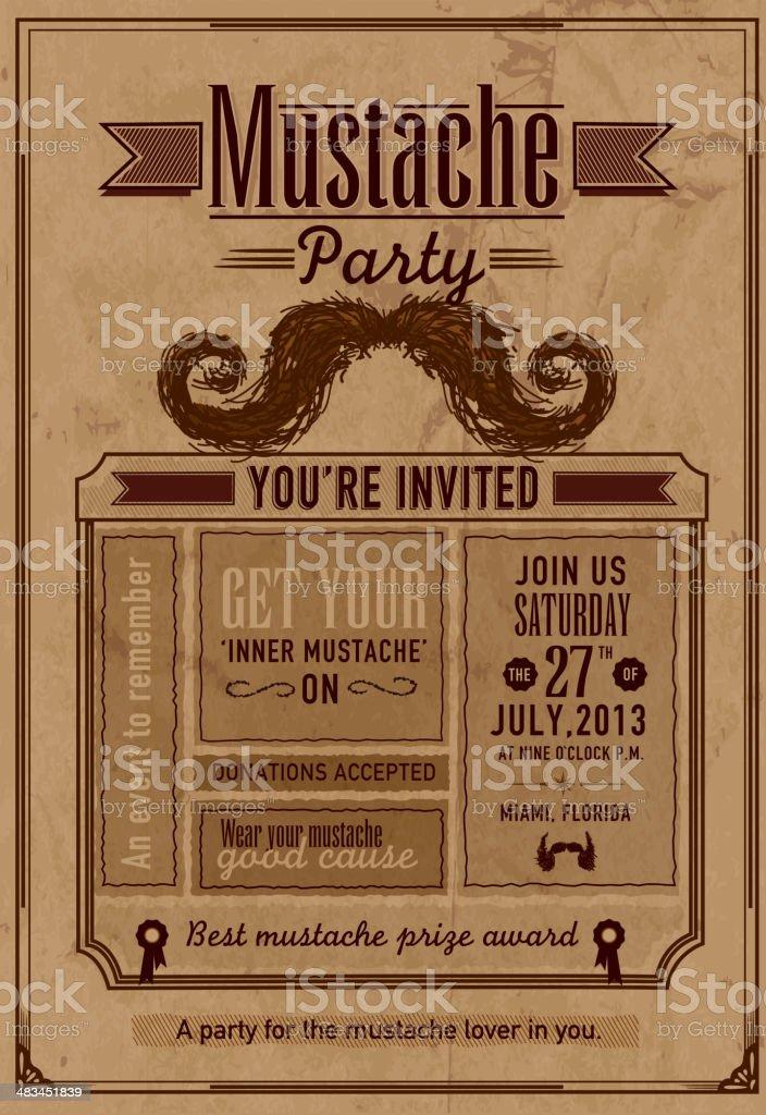Mustache Party celebration invitation design template royalty-free stock vector art