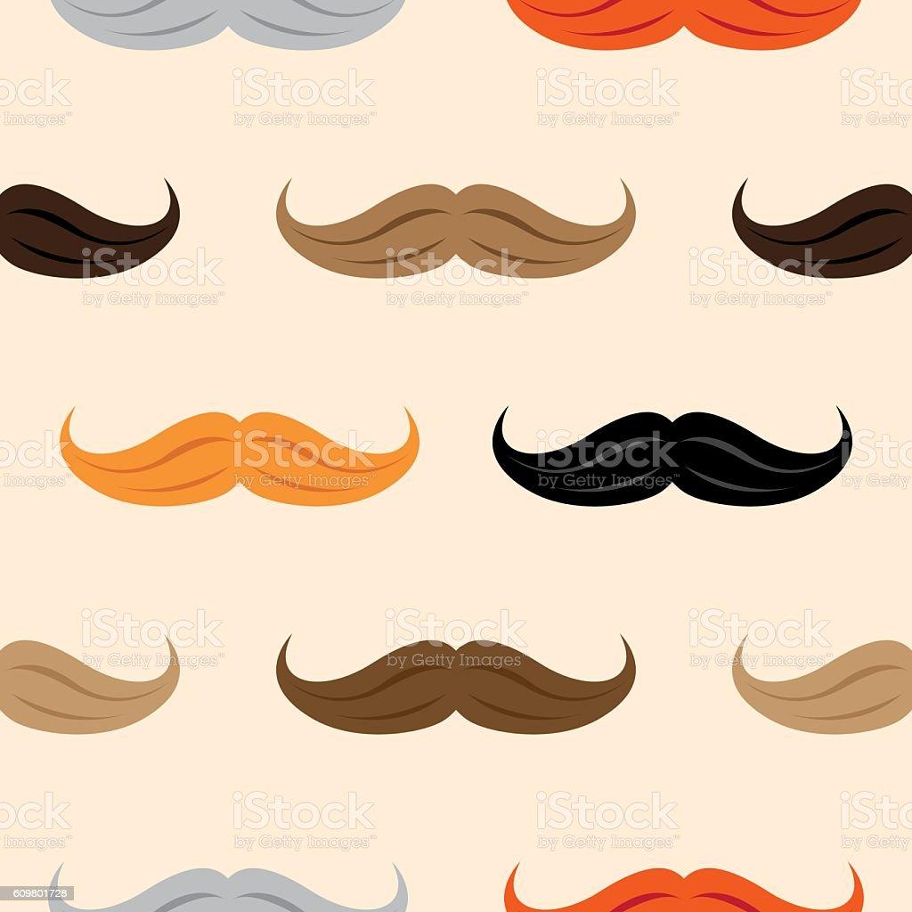 Mustache Pattern vector art illustration