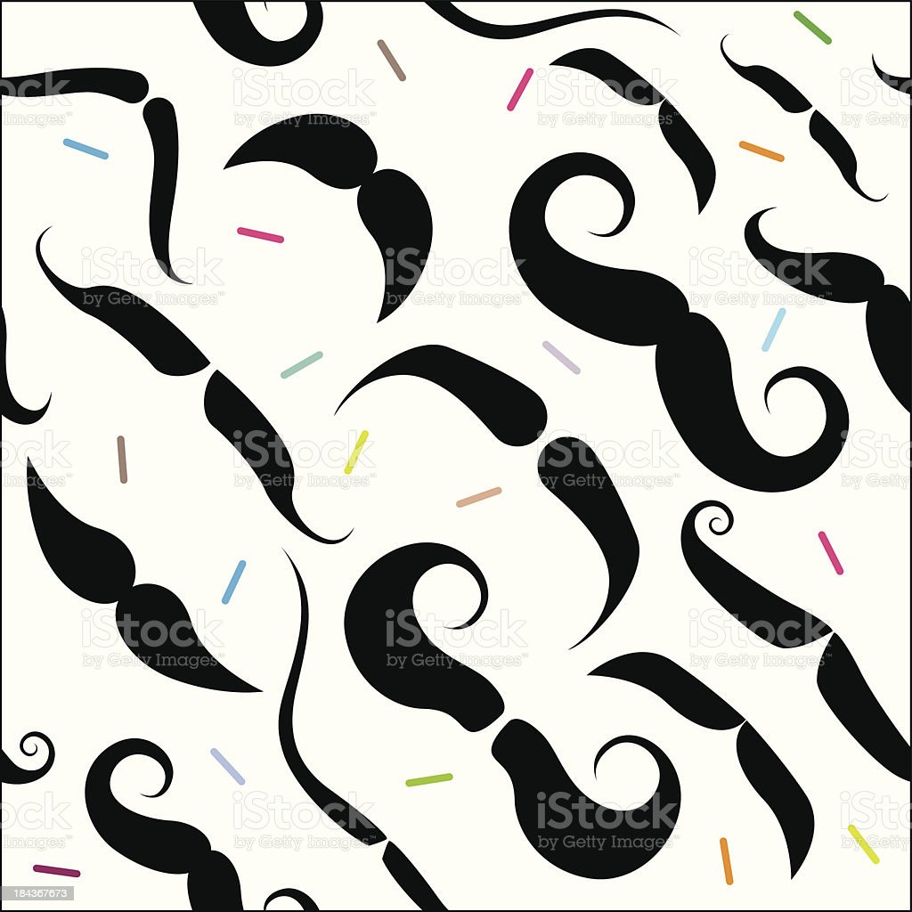 Mustache Seamless Pattern vector art illustration