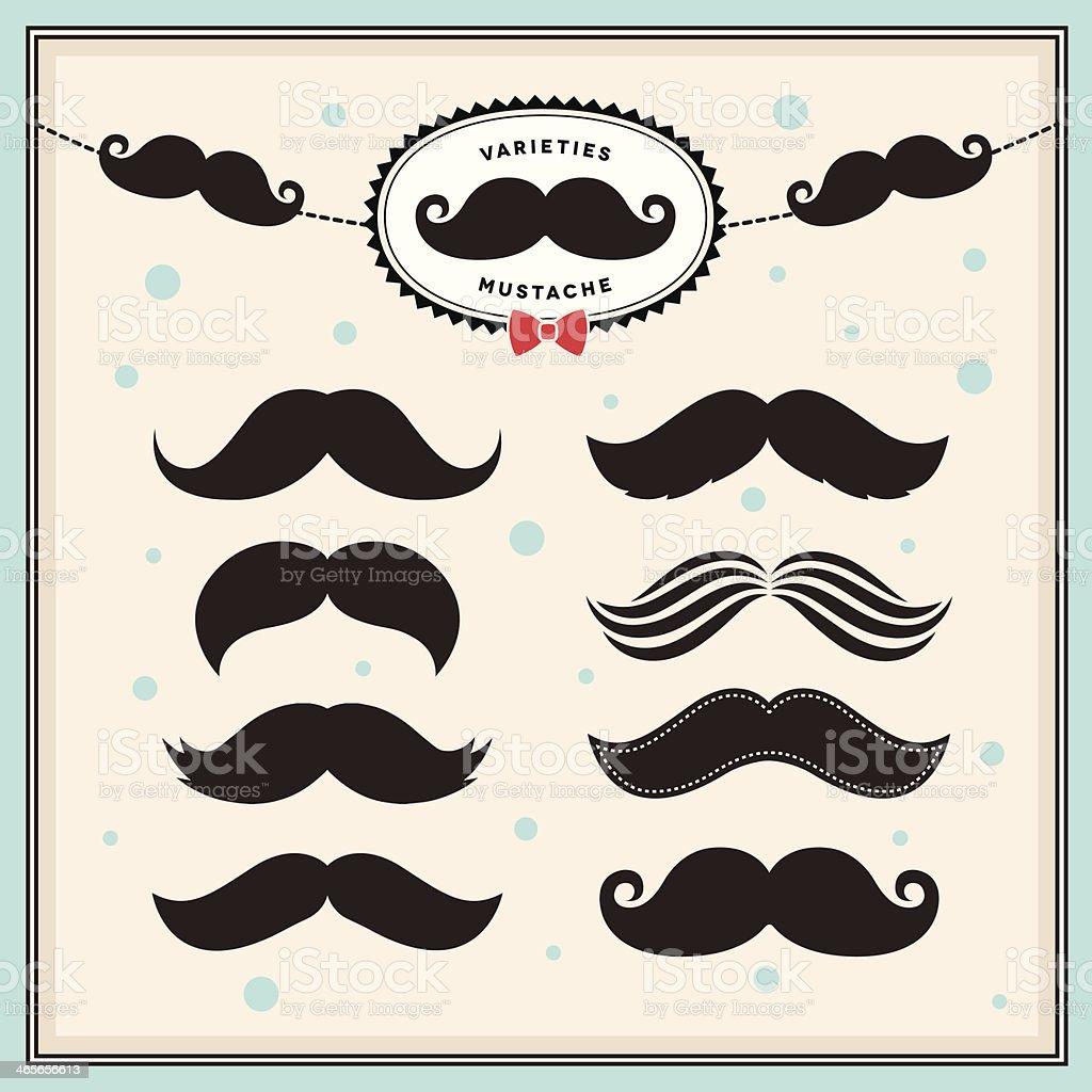 Mustache set vector art illustration