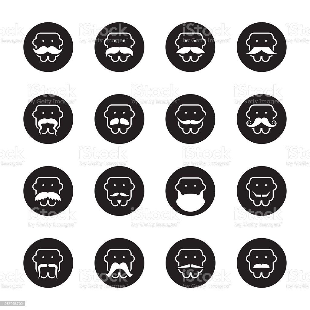 Mustache Style Icons - Black Circle Series vector art illustration