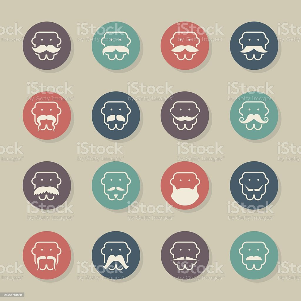 Mustache Style Icons - Color Circle Series vector art illustration