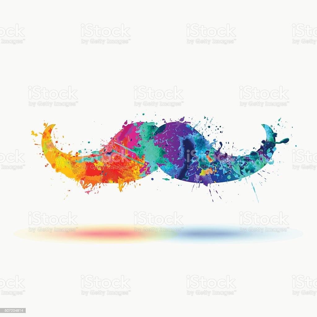 mustache - vector watercolor splashes illustration vector art illustration