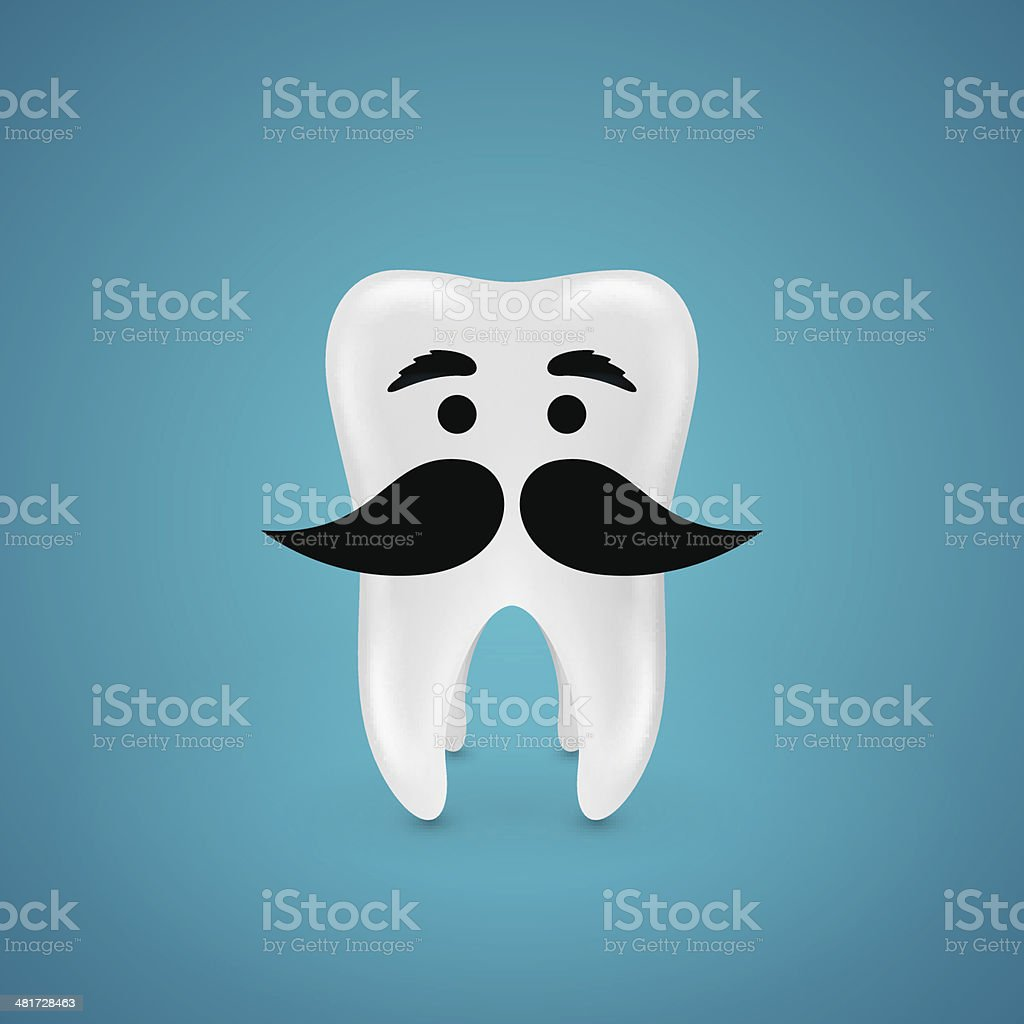 Mustachioed wisdom tooth royalty-free stock vector art