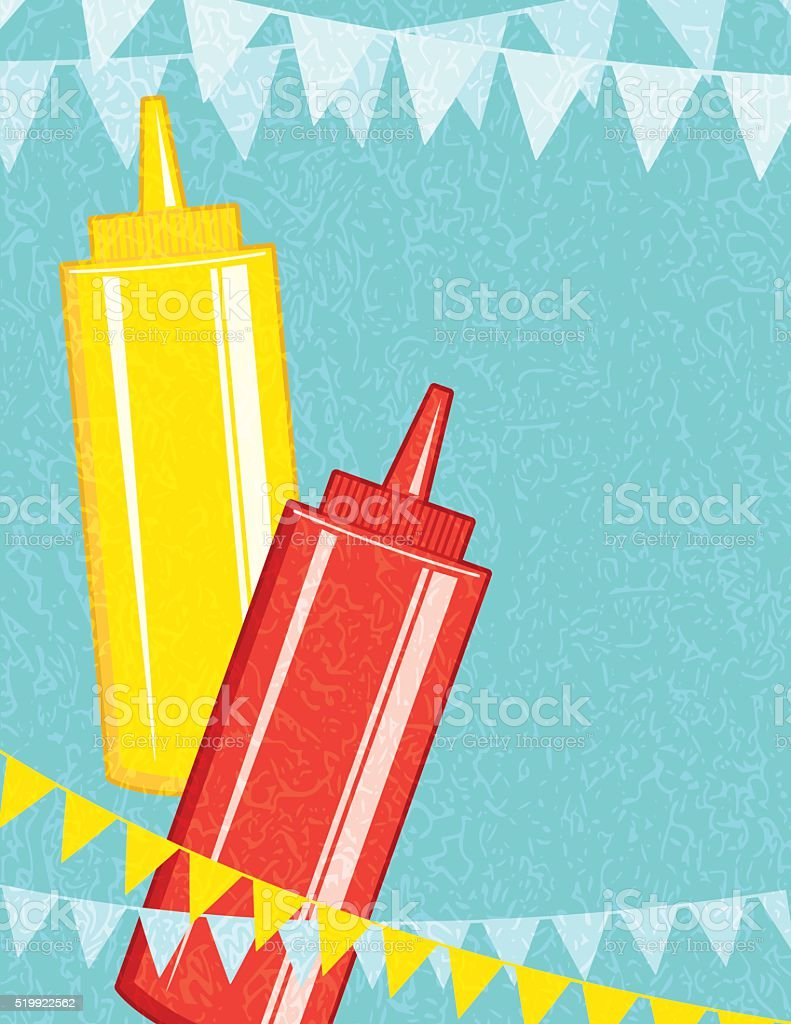 Mustard and Ketchup Bottles With Bunting Flags vector art illustration