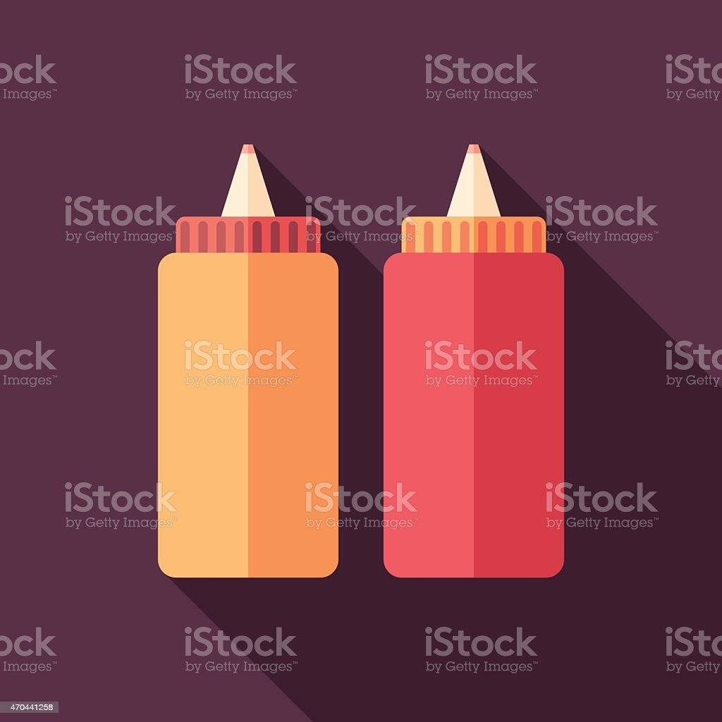 Mustard and ketchup flat square icon with long shadows. vector art illustration