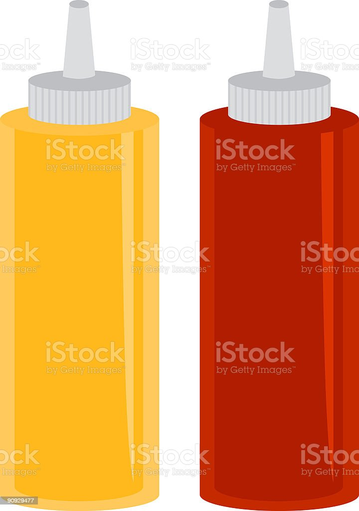Mustard and Ketchup vector art illustration