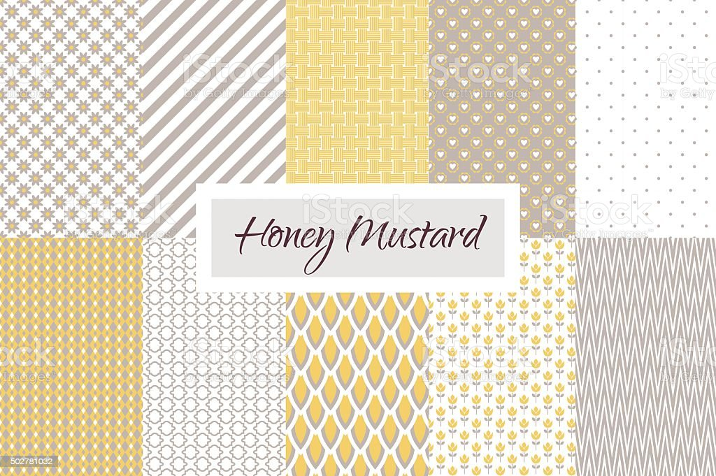 Mustard yellow and taupe geometric seamless pattern set vector art illustration