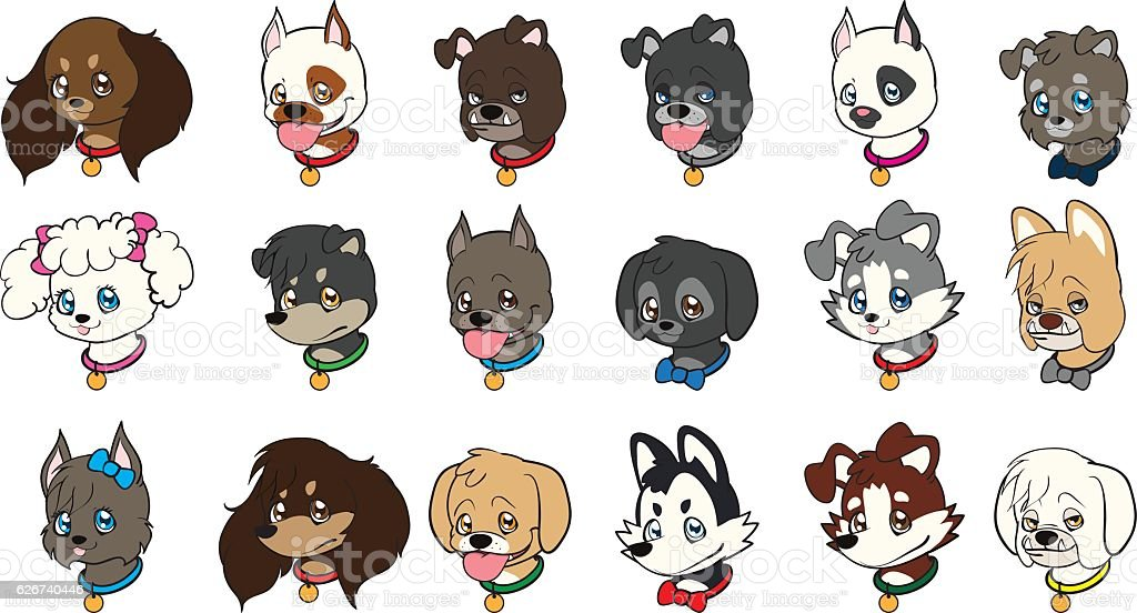 Mutts of all kinds vector art illustration