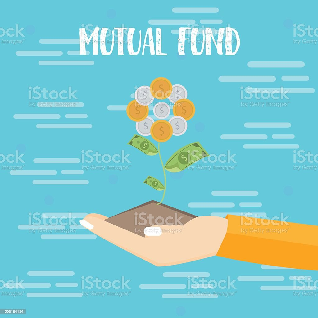 mutual fund investment hand grow plant dollar coin vector flat vector art illustration