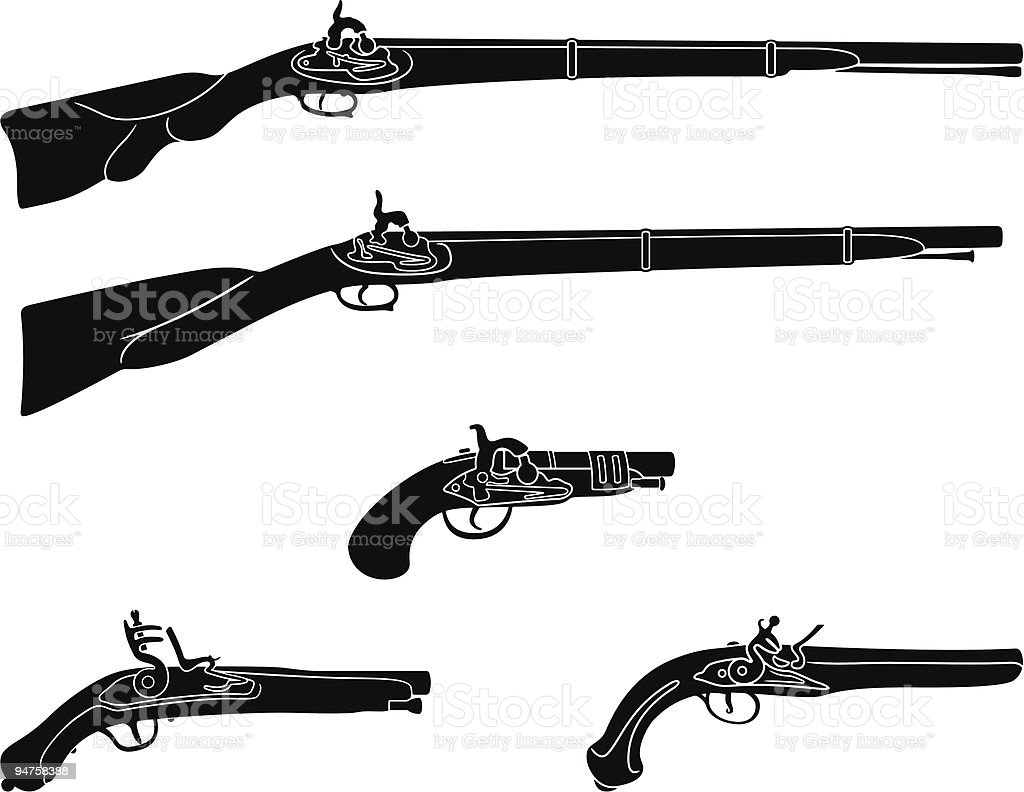 Muzzle loading firearms vector art illustration