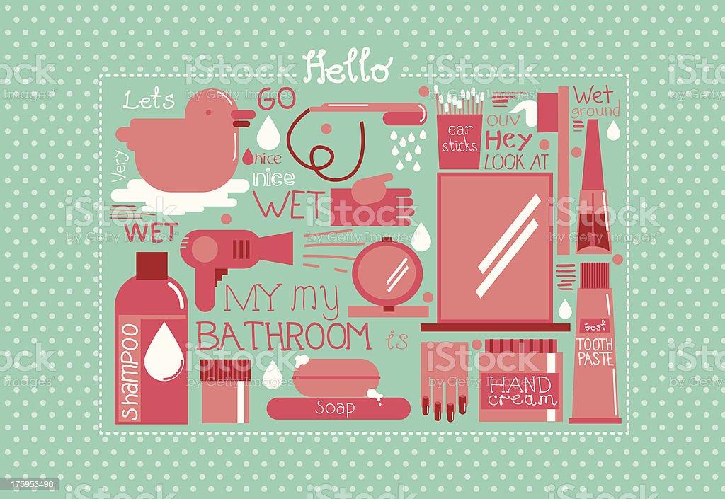 My Bathroom vector art illustration