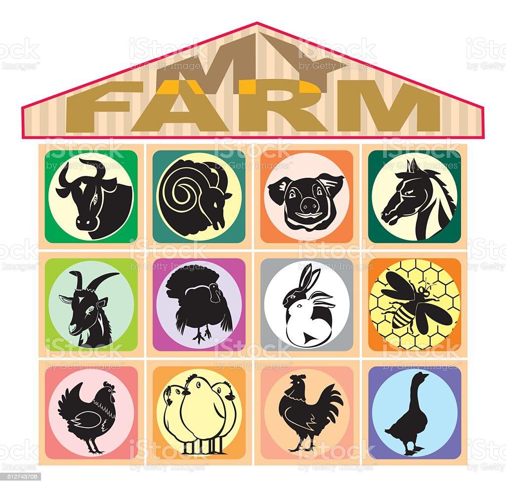 my farm vector art illustration
