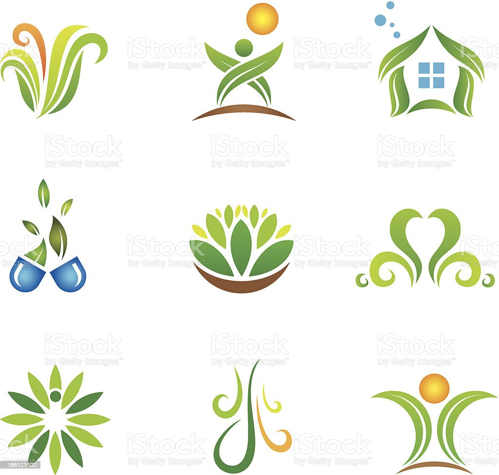 My green nature lifestyle health care and medicine logo template royalty-free stock vector art