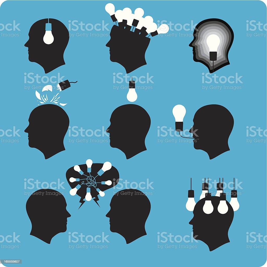 My Head is Full of Ideas vector art illustration