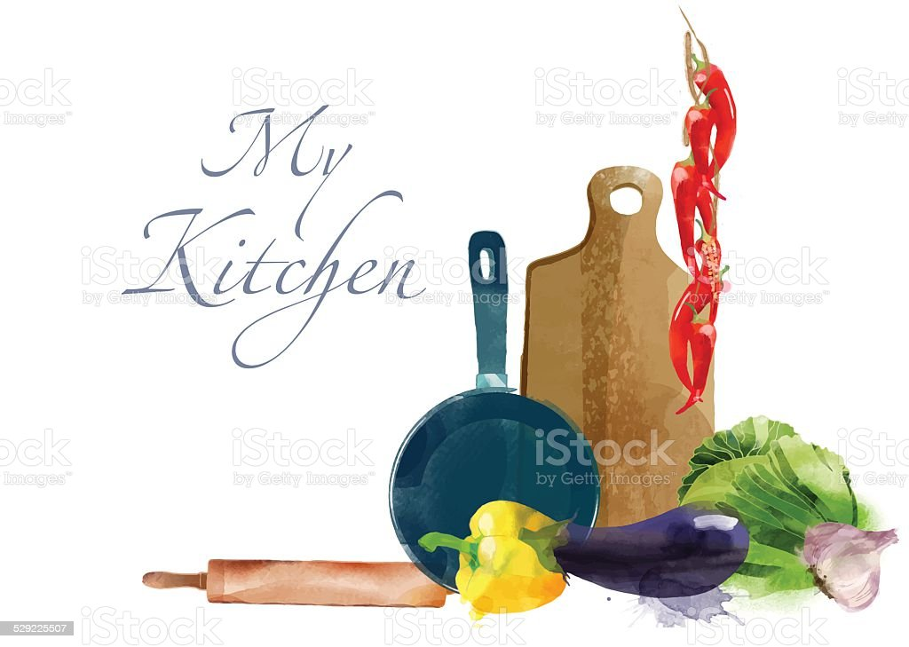 My kitchen Watercolor vector kitchen background vector art illustration