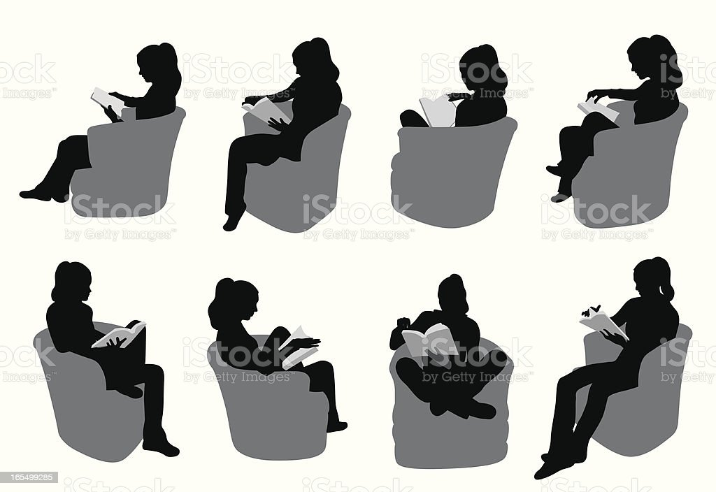 My Reading Vector Silhouette royalty-free stock vector art