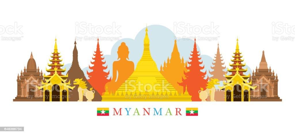 Myanmar Architecture Landmarks Skyline vector art illustration