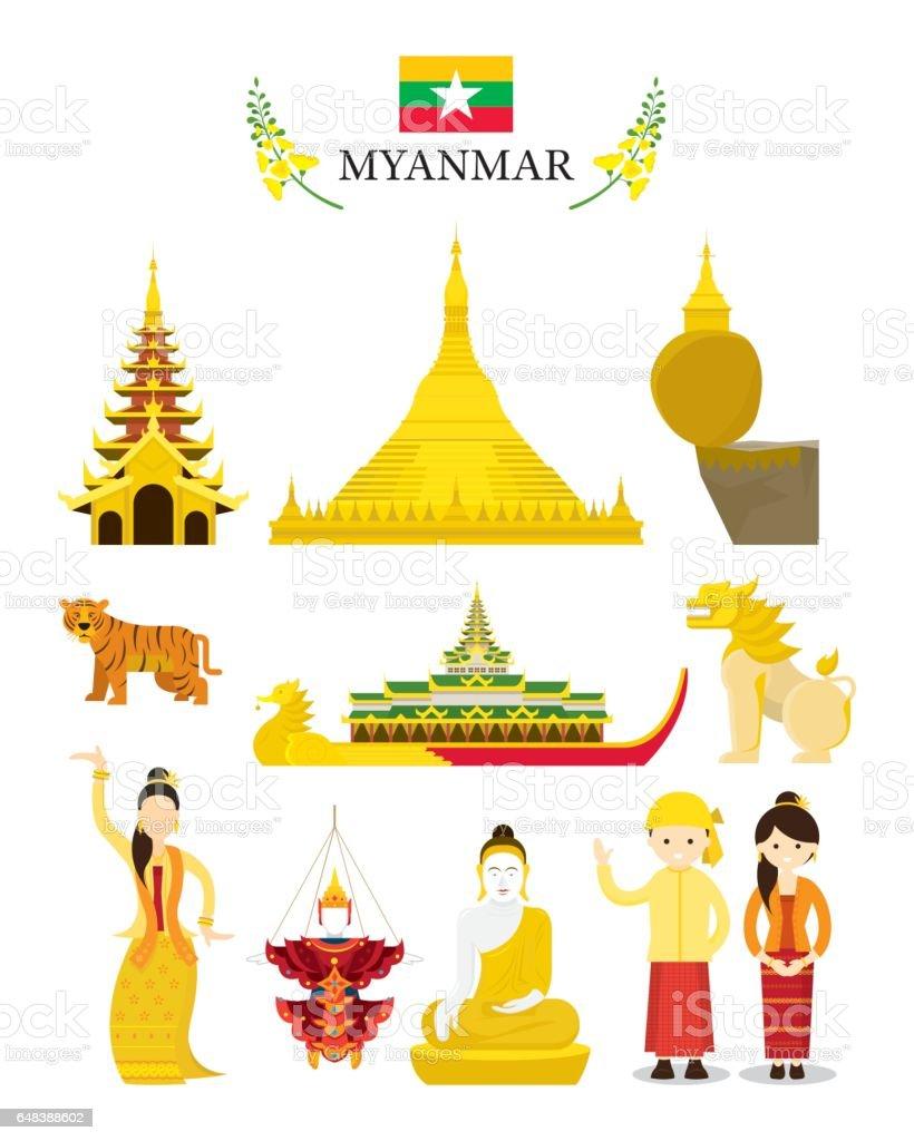 Myanmar Landmarks and Culture Object Set vector art illustration
