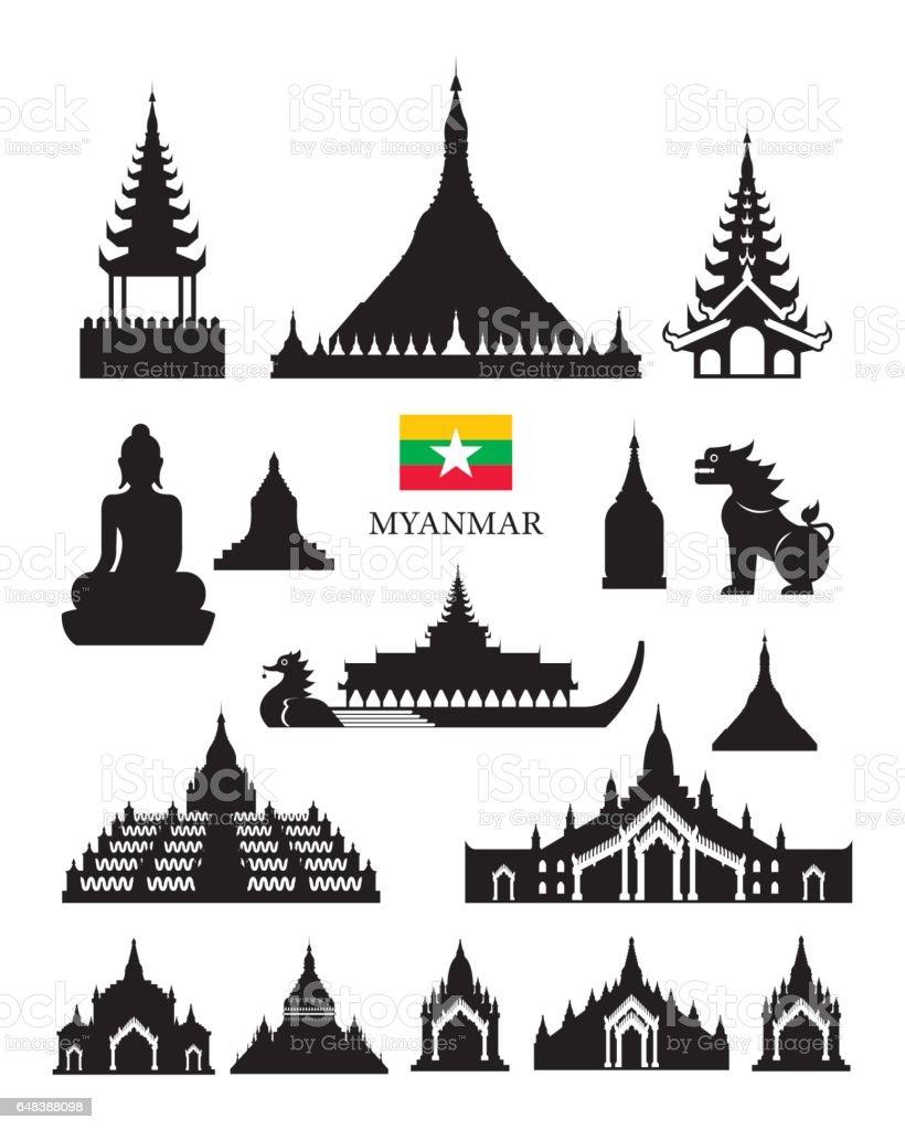Myanmar Landmarks Architecture Building Object Set vector art illustration