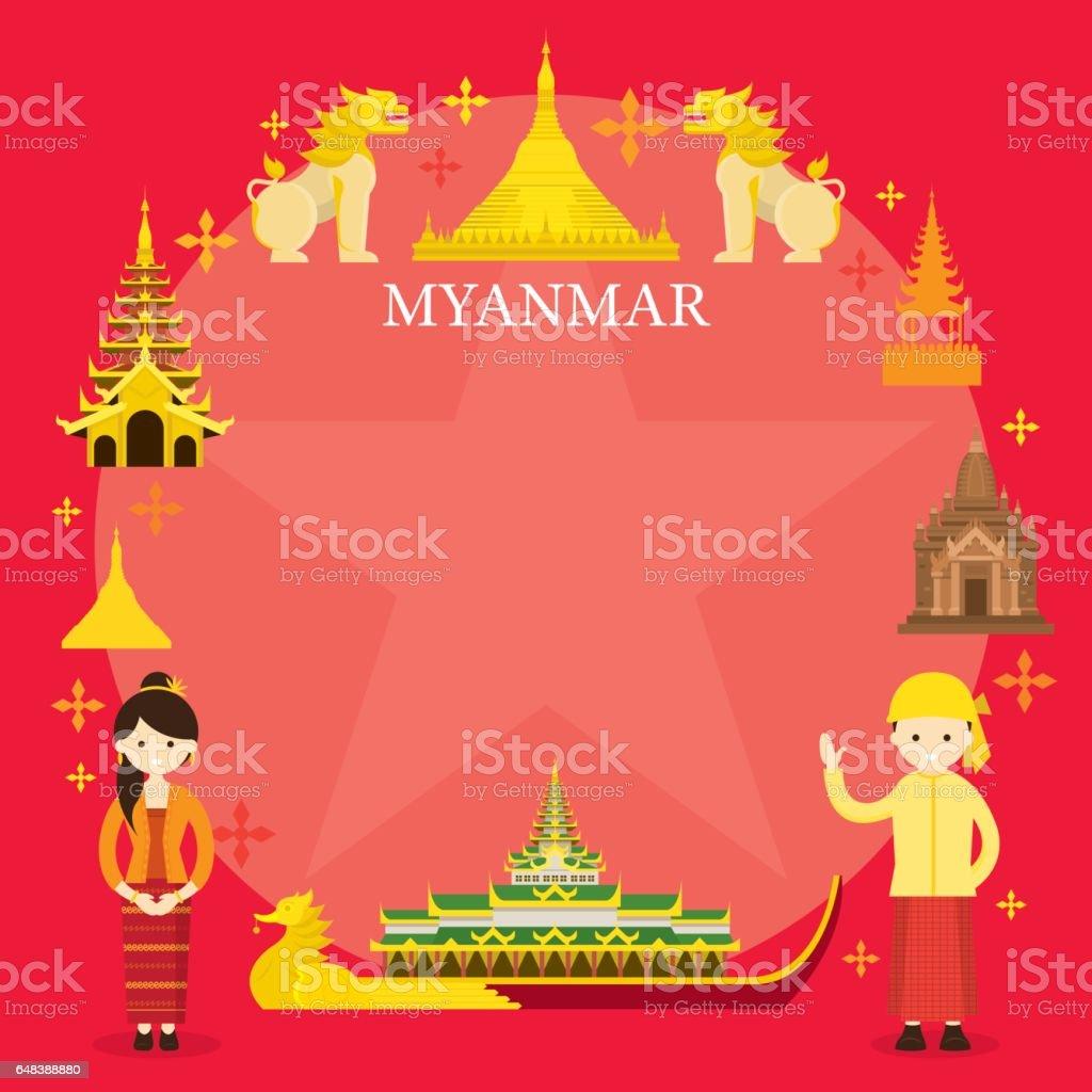 Myanmar Landmarks, People in Traditional Clothing, Frame vector art illustration