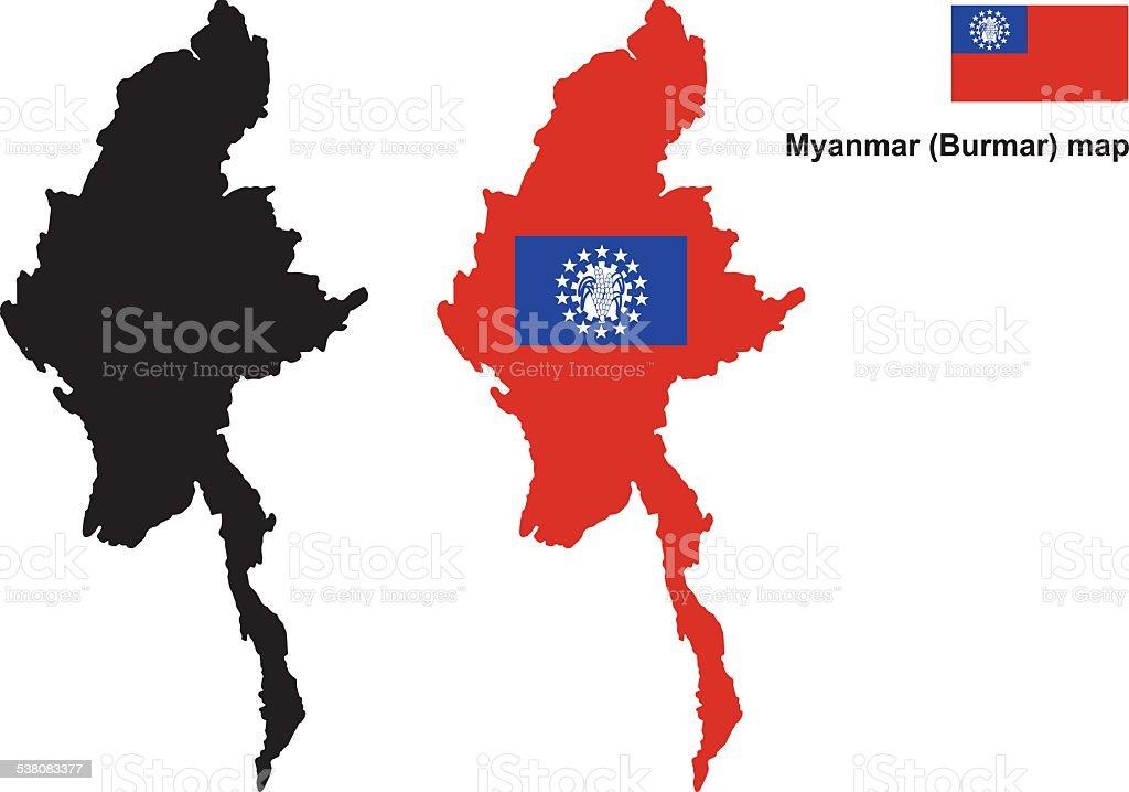 Myanmar map vector, Myanmar flag vector vector art illustration