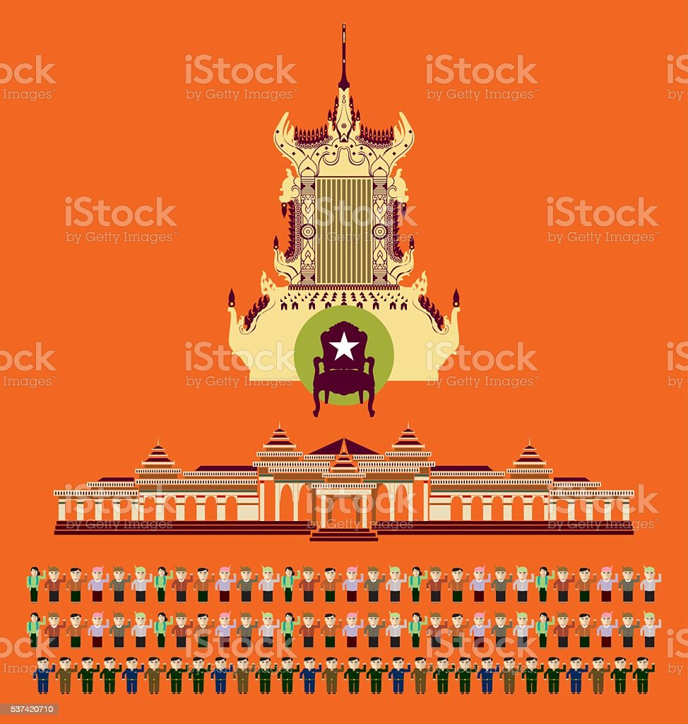 Myanmar Political symbol vector art illustration