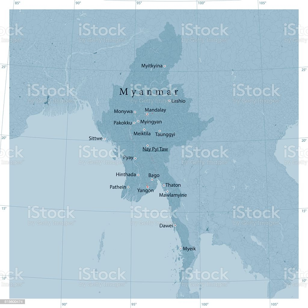Myanmar Vector Road Map vector art illustration