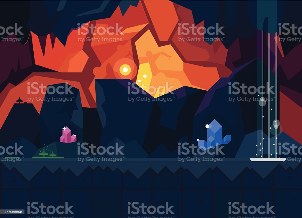 Mysterious cave with magical crystals vector art illustration