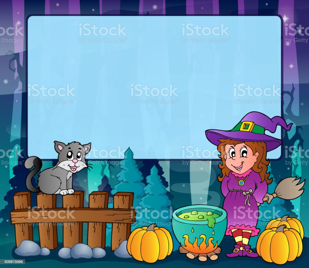 Mysterious forest Halloween frame 6 royalty-free stock vector art