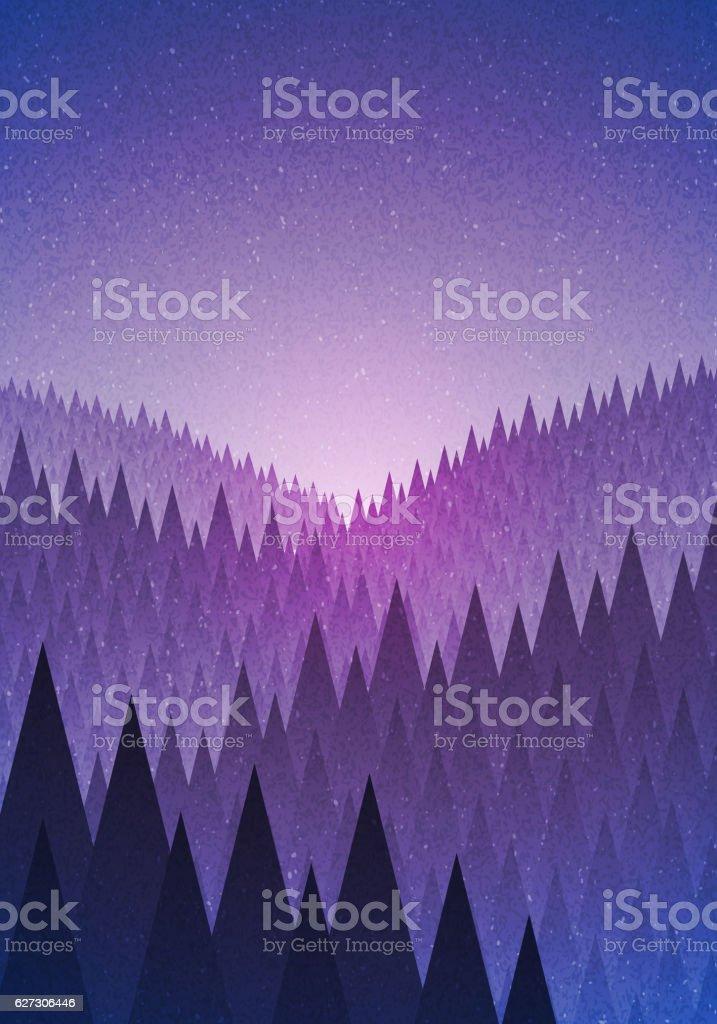 Mysterious forest vector art illustration