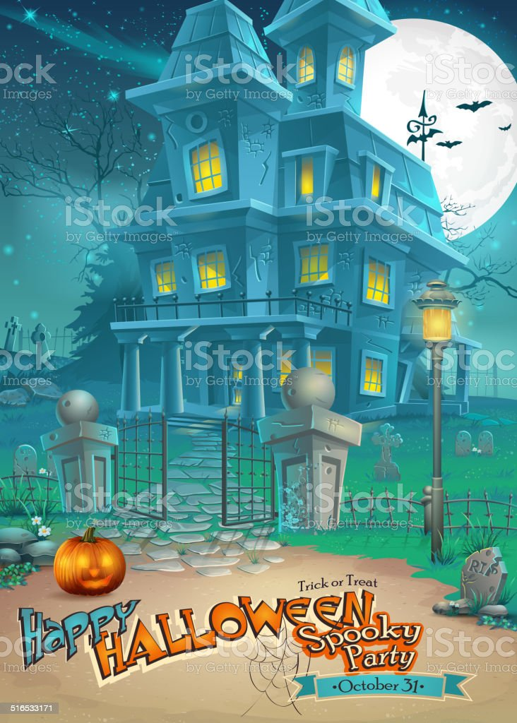 mysterious Halloween haunted house and scary pumpkin vector art illustration