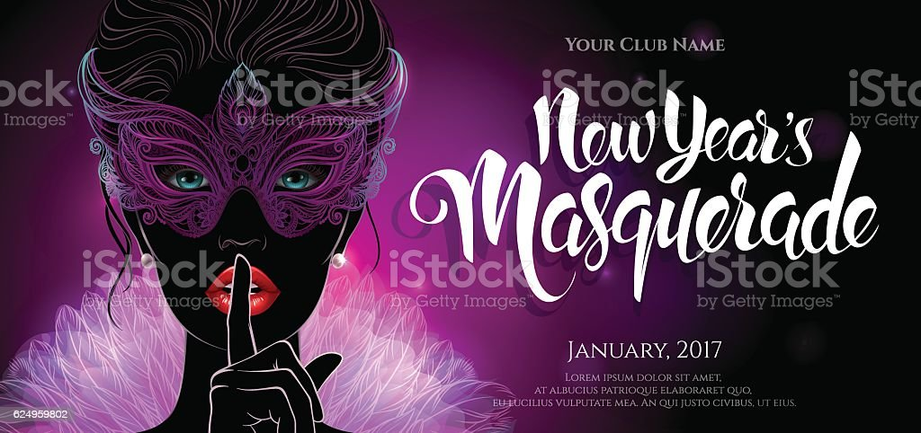 Mysterious lady in a carnival mask vector art illustration
