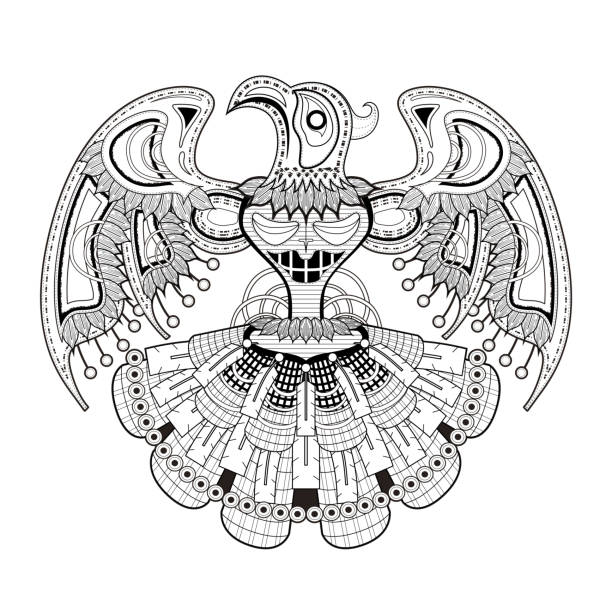mystery bird totem coloring page vector art illustration