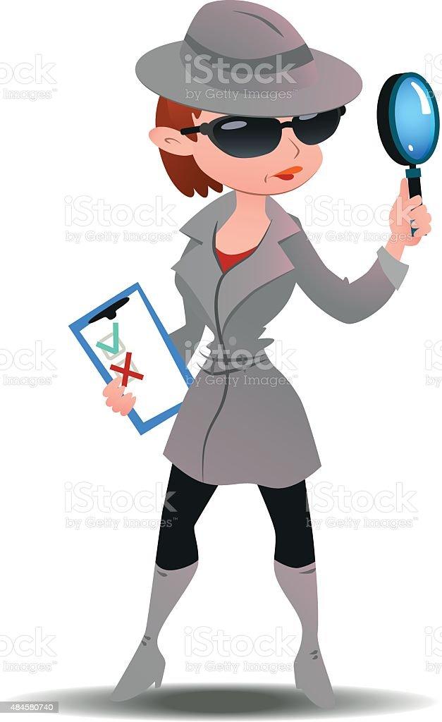 Mystery shopper woman in spy coat vector art illustration