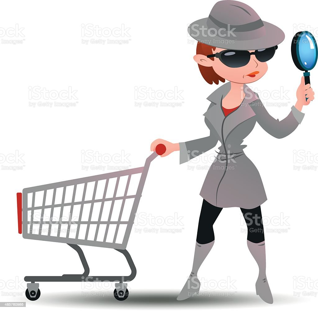 Mystery shopper woman in spy coat with shopping cart vector art illustration