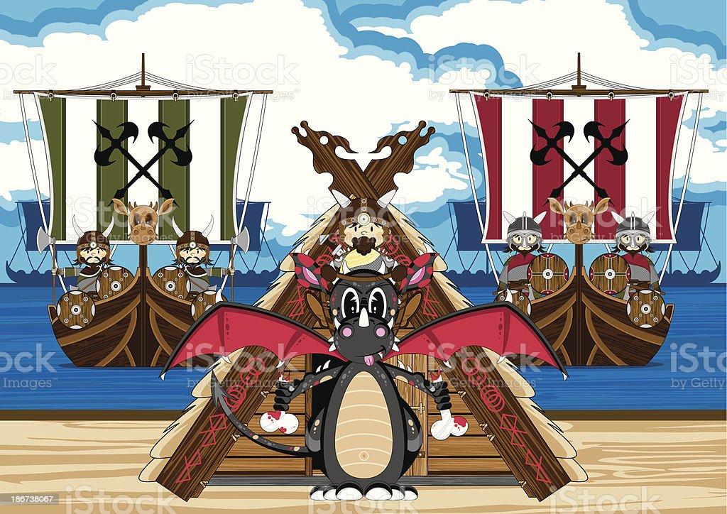Mystical Dragon and Viking Warriors vector art illustration