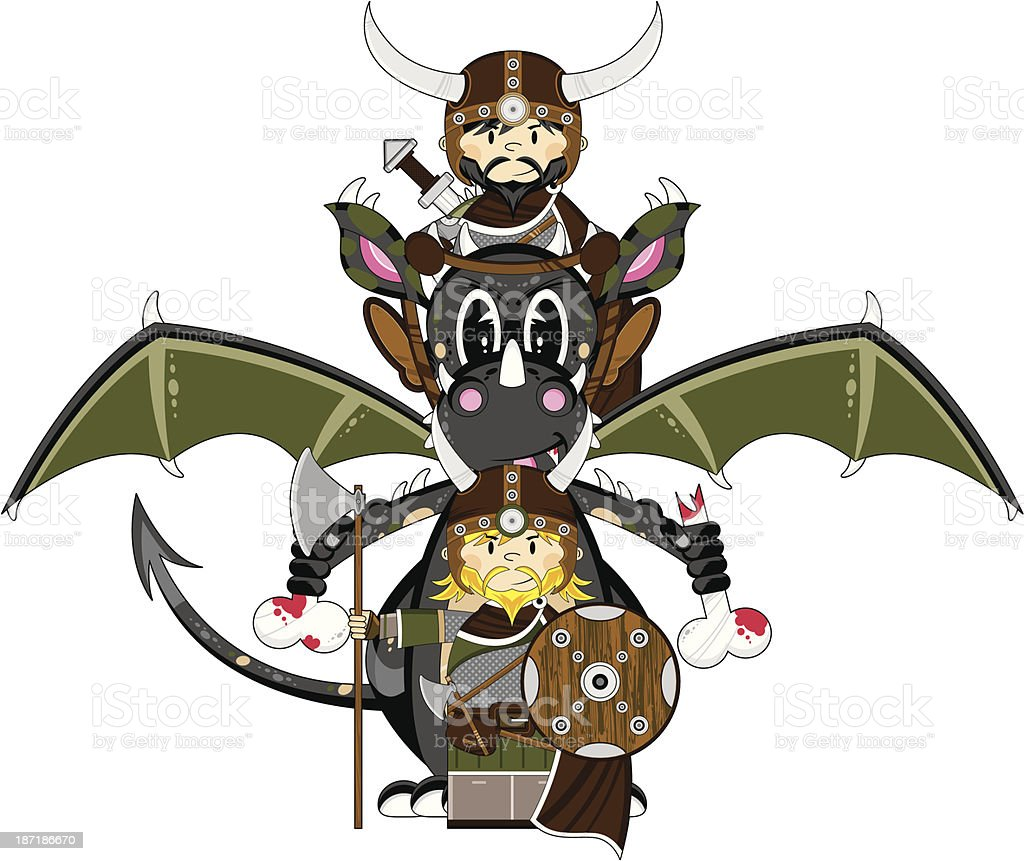 Mystical Dragon and Viking Warriors royalty-free stock vector art
